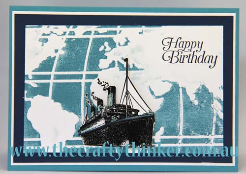 SU, saleabration, Traveler, masculine card, hand made birthday card, ship