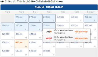 Giá vé máy bay Sài Gòn đi Quy Nhơn hãng Vietjet Air, Jetstar