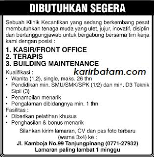 Lowongan Kerja Klinik Kecantikan Tanjung Pinang