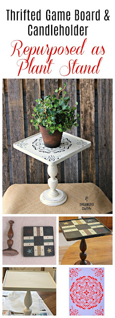 Thrifted Game Board & Candlestick Plant Stand #repurpose #thriftshopmakeover #stencil #mandala #anniesloan