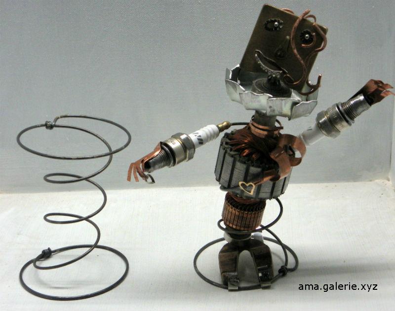 sculpture métal en ressorts recyclés par Ama
