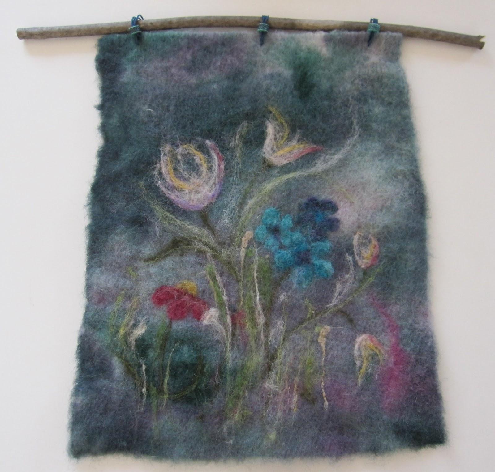 Coral Door Studio Needle Felted Wall Hanging Floral Motif