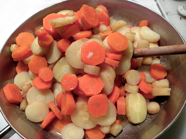 Simmered Carrots Put into Skillet with sauce