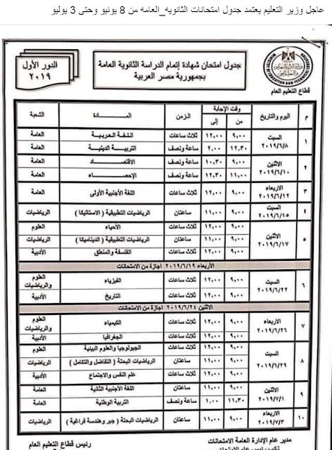 جدول امتحانات الثانويه العامه 2019 المعتمد من وزير التربية والتعليم وتبدأ من 8 يونيو وحتى 3 يوليو