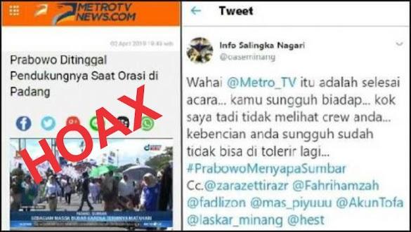 """Tercyduk Hoax, MetroTV Akhirnya Hapus Berita """"Prabowo Ditinggal Pendukung Saat Orasi di Padang"""""""