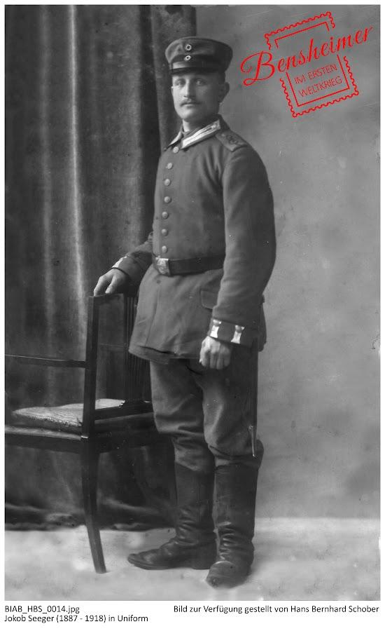 Jakob Seeger (1887 - 1918) aus Auerbach (heute Bensheim-Auerbach) - Bild zur Verfügung gestellt von Hans Bernhard Schober, digital überarbeitet: Frank-Egon Stoll-Berberich 2017
