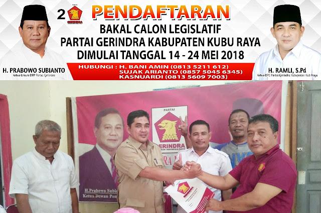 DPC Partai Gerindra Kabupaten Kubu Raya Buka Balon Legislatif
