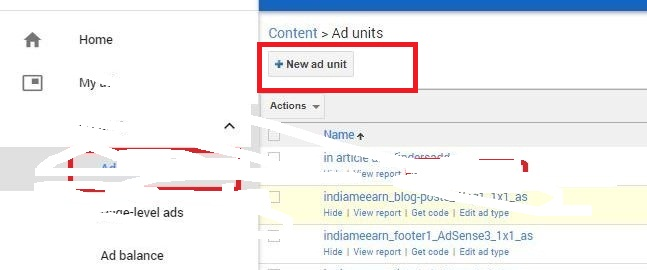 click on the new ad unit