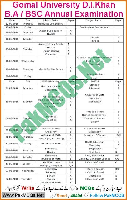 gomal university d i khan board BA BSC Date Sheet, free download BA BSc date sheet of D I Khan