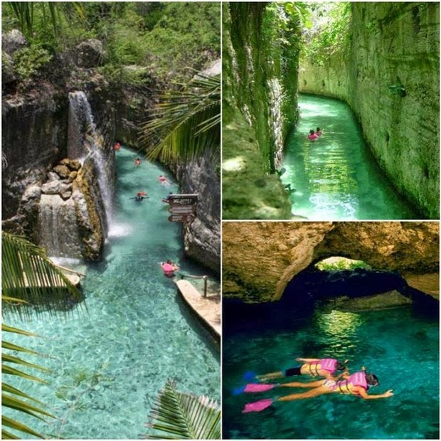 Places You Want to Be Right Now Xcaret underground river in Mexico