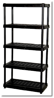 An example of the shelves in question. Thick black plastic, five total shelves, on a white background. These are of the type that might be found at Home Depot or Lowes or other similar home improvement shops.