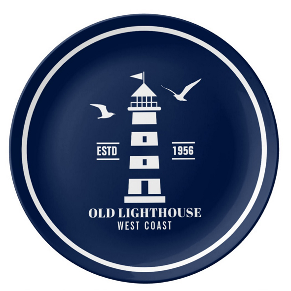 Nautical Decor Plate - Lighthouse Badge - Seagulls - Customizable