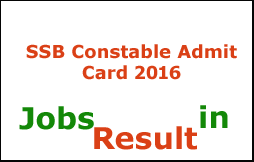 SSB Constable Admit Card 2016