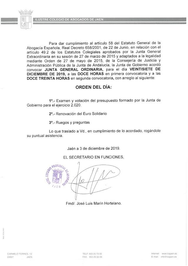 Junta General Ordinaria ICA Jaén