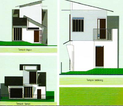 rumah minimalis tampak depan samping belakang 2 lantai