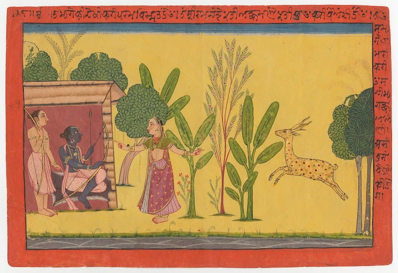 Sita asks Rama to Fetch the Golden Deer for her - Page from the 'Shangri' Ramayana series - Pahari Painting c. 1700–10