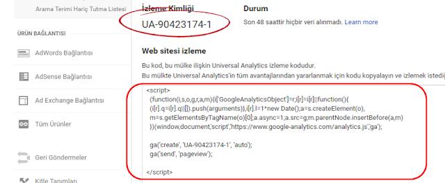 Google Analytics izleme kimliği ve web sitesi izleme kodu