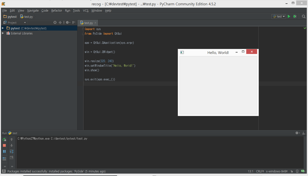 robotics & programming: setup pyside at pycharm