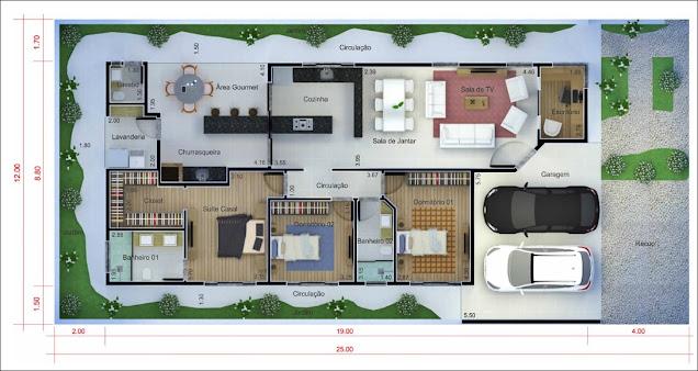 Planta casa telhado aparente