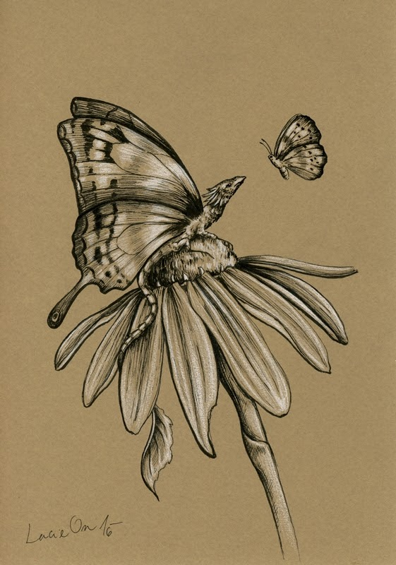 11-A Different-Kind-of-Butterfly-Lucie-Ondruskova-LucieOn-A-Glimpse-of-Fairyland-Animals-in-Drawings-www-designstack-co