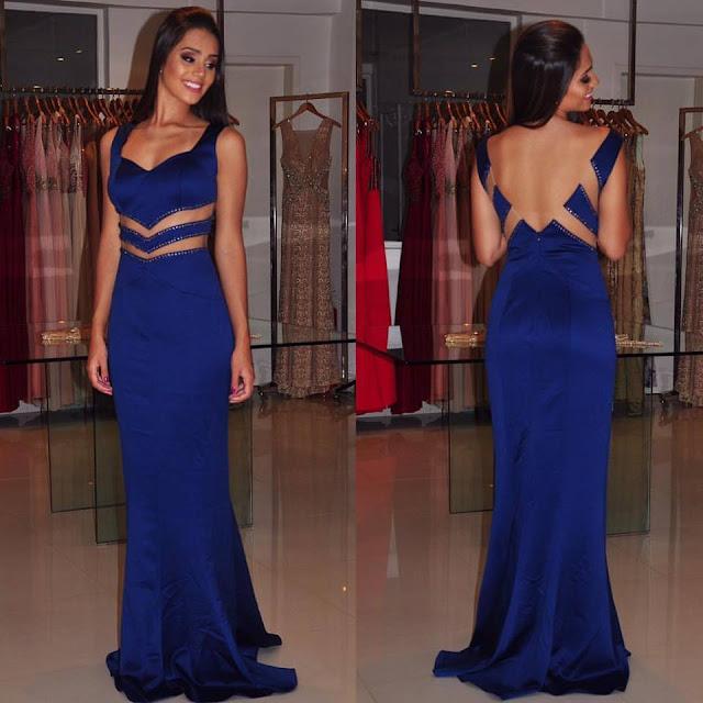 vestido azul madrinha ou formanda