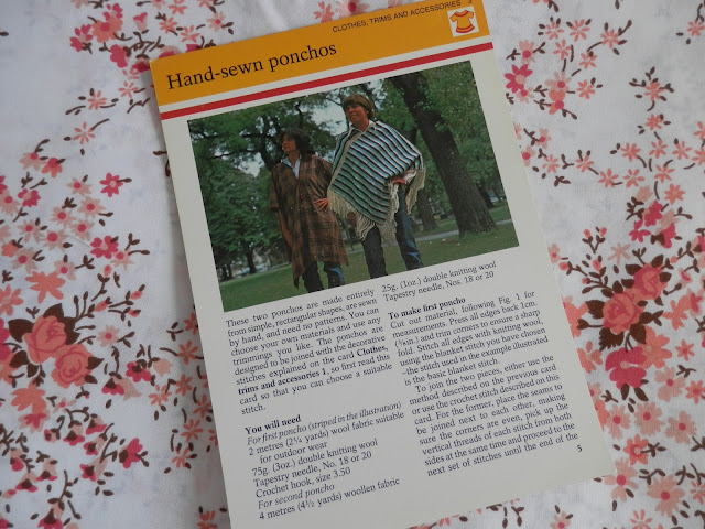Retro seventies poncho pattern card.  secondhandsusie.blogspot.co.uk