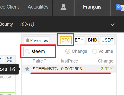 Binance trading steem btc