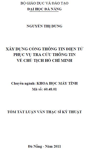 Xây dựng cổng thông tin điện tử phục vụ tra cứu thông tin về chủ tịch Hồ Chí Minh