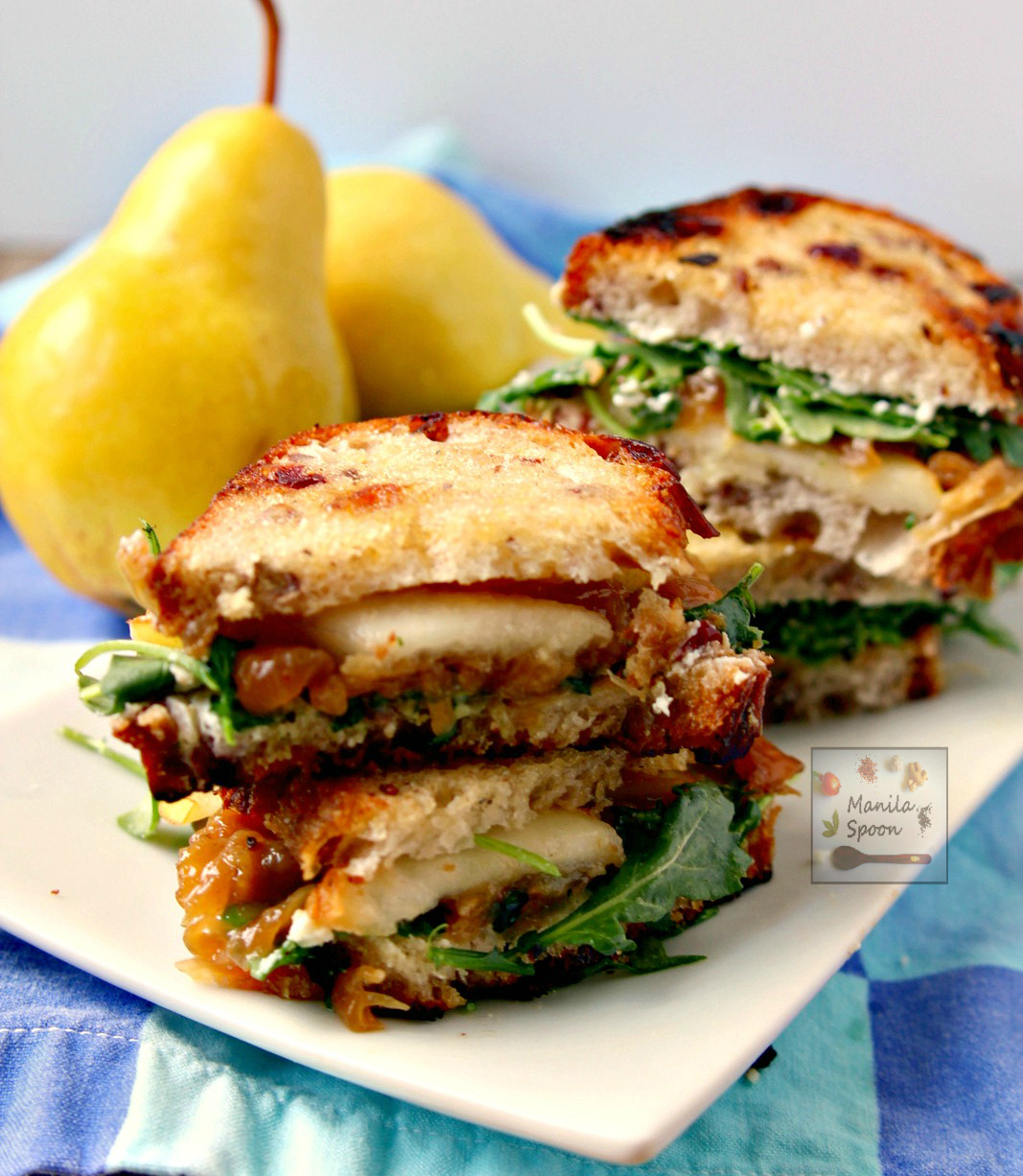 Pear, Honey, Cheese and Caramelized Onion Sandwiches