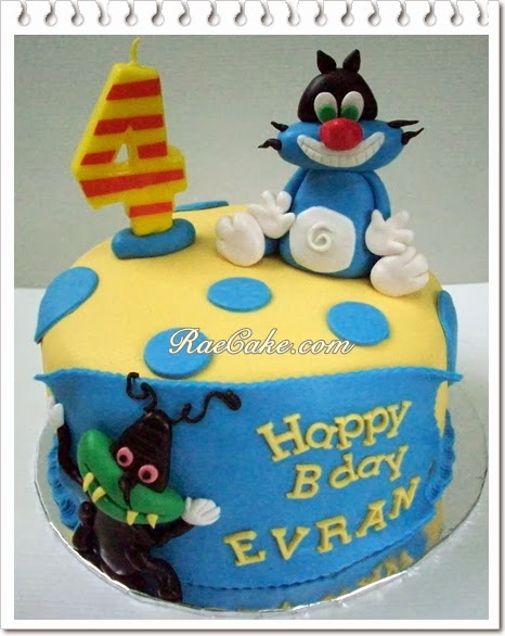 Oggy Cocroach Cake for Rafi Kue Ulang Tahun Birthday CakeCupcake