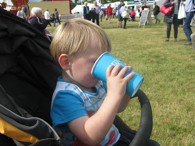 Toddler drinking milkshake