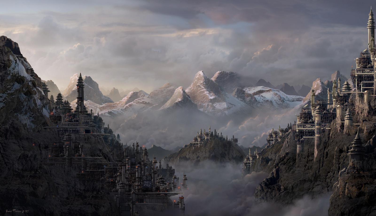 Fondo De Escritorio Montañas Nevadas: Wallpaper De Una Ciudad En Montañas Nevadas