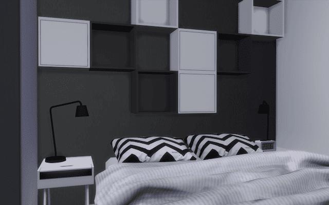 chambre adulte sims 4 noir et blanc