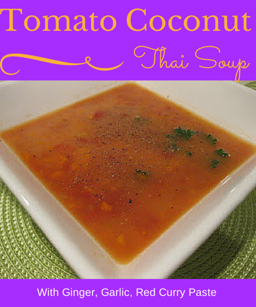bowl of thai coconut tomato soup