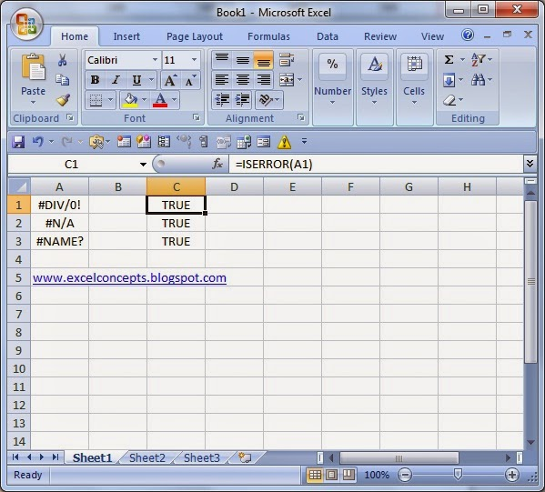 Excel Concept's: MS EXCEL: ISERROR FUNCTION