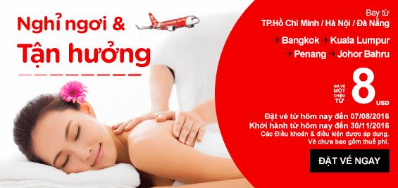 Tận hưởng và nghỉ ngơi cùng khuyến mãi Air Asia
