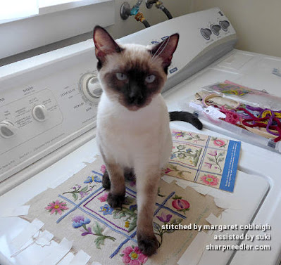 Crewel Sampler (by Elsa Williams): Siamese kitten (Suki) helping with photography
