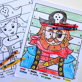 free printable boy and girl pirate color by number sheets