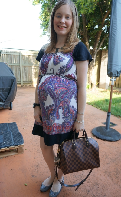 Away from Blue | jeanswest paisley mixed print dress baby bump in the office