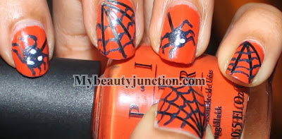 Spider and web Hallowe'en nail art with OPI Chop sticking to my story and tape manicure