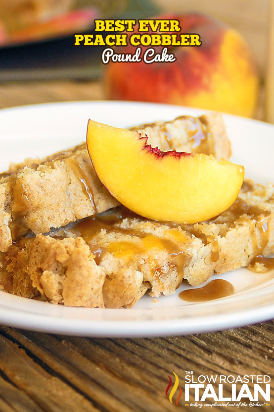 slice of peach cobbler cake on a plate with fresh peach slice