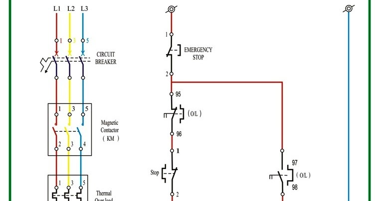 OIL AND GAS ELECTRICAL AND INSTRUMENTATION ENGINEERING: DOL STARTER POWER AND CONTROL DIAGRAM