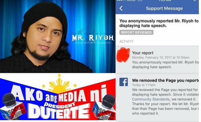 Mr.Riyoh's Facebook page shut down.Reason : It supports Duterte