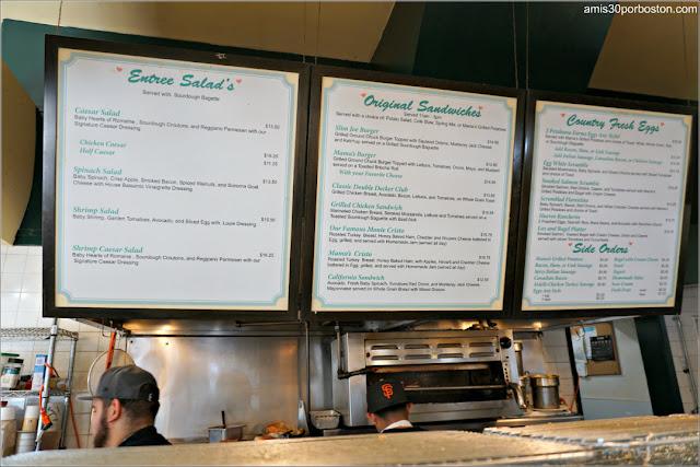 Menú en la Cafetería Mama's On Washington Square en San Francisco