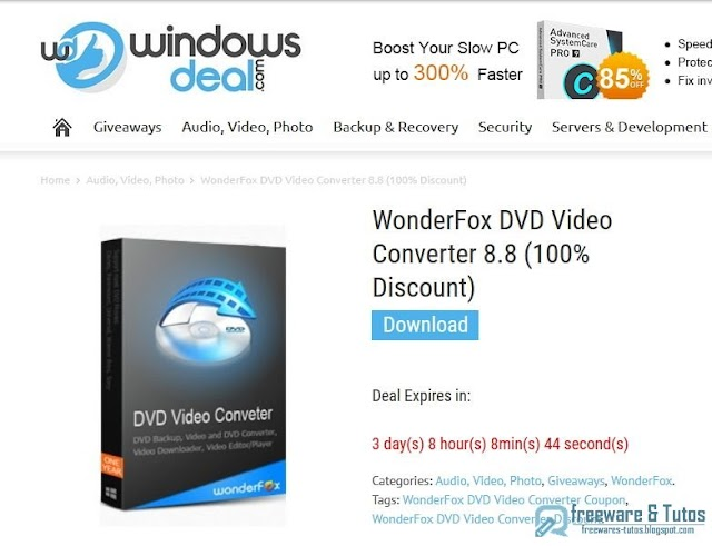 Offre promotionnelle : WonderFox DVD Video Converter 8.8 gratuit !