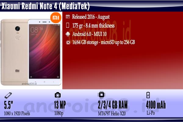 Spesifikasi Xiaomi Redmi Note 4 (MediaTek)
