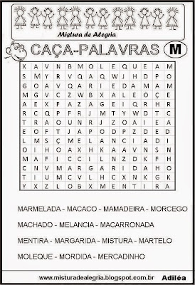 Caça-palavras alfabéticas-letra M