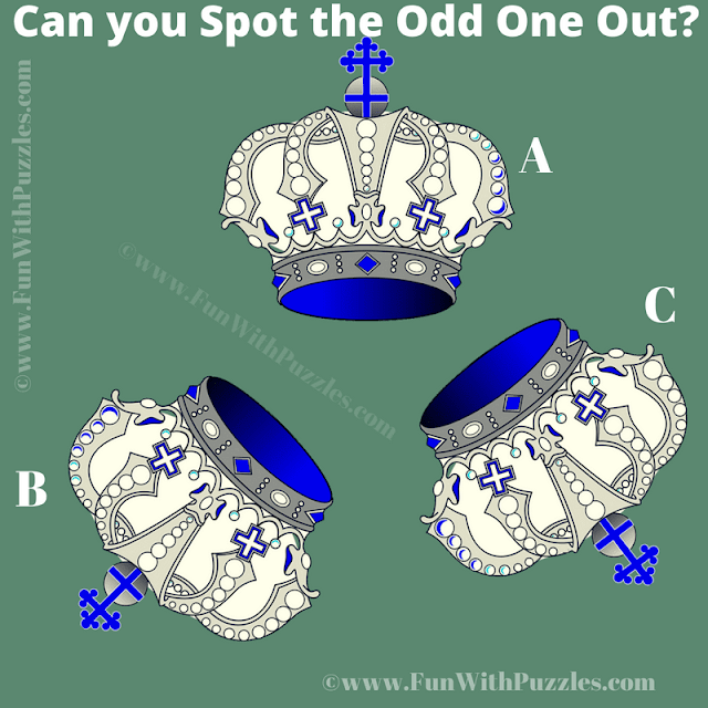 It is Royal Crown Odd One Out Picture Puzzle in which one has find out which crown is different