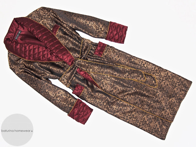 mens paisley silk robe long quilted dressing gown smoking jacket red gold