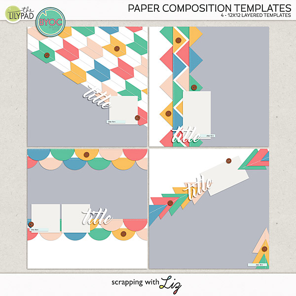 Digital Scrapbook Composition Templates